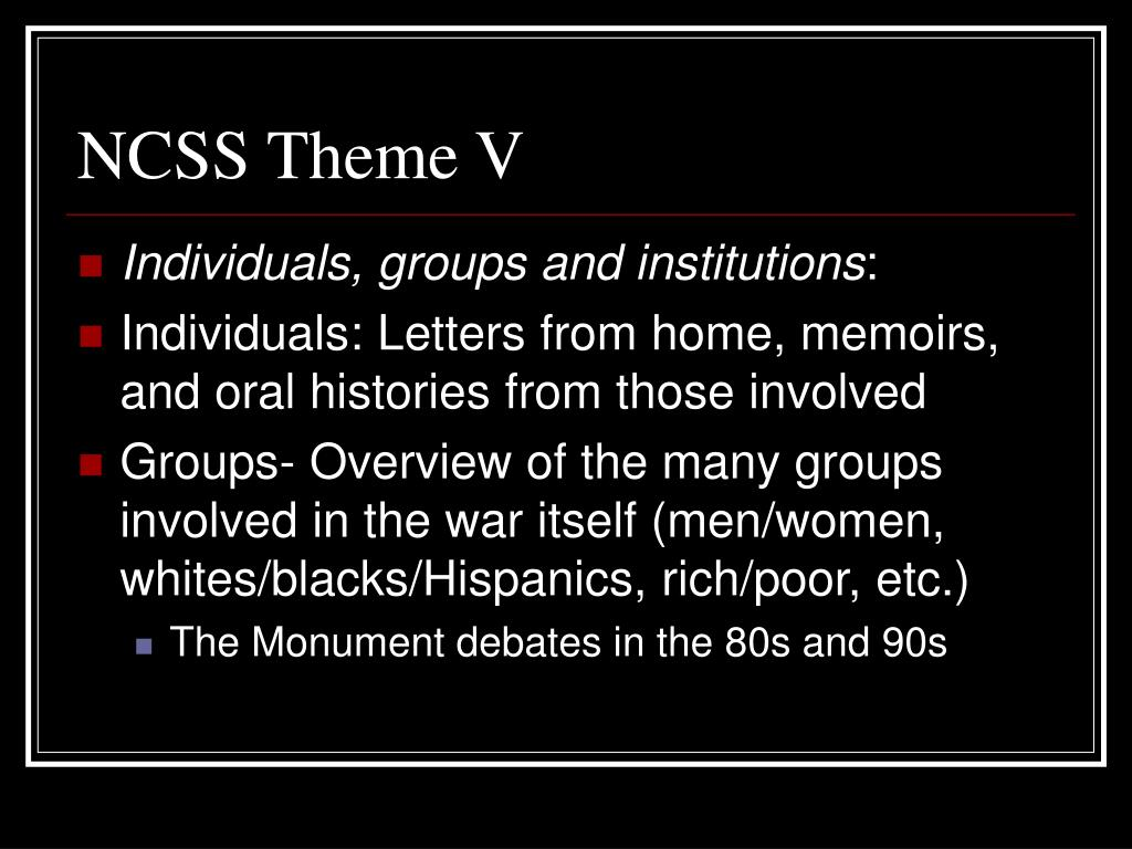 NCSS Theme V
