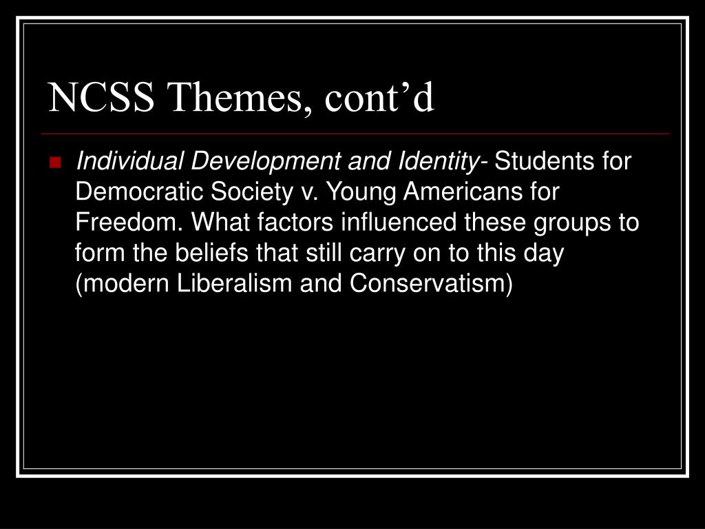 NCSS Themes, cont'd
