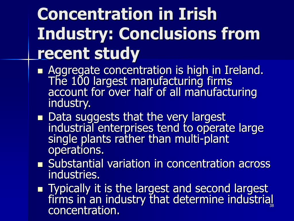 Concentration in Irish Industry: Conclusions from recent study