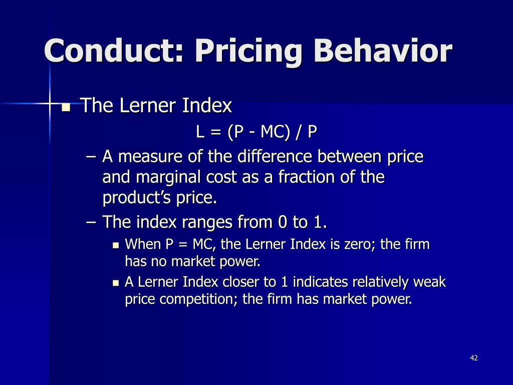 Conduct: Pricing Behavior