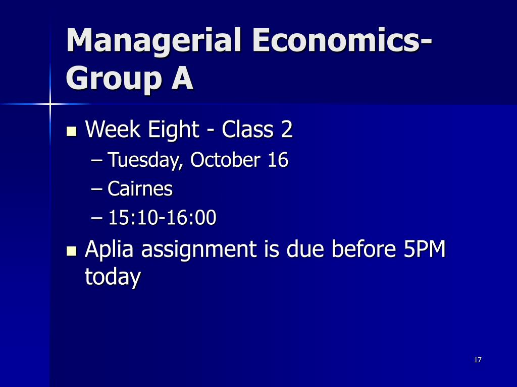 Managerial Economics- Group A