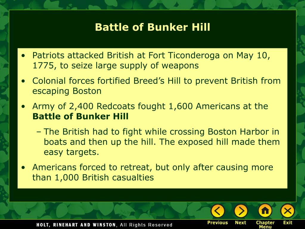 Patriots attacked British at Fort Ticonderoga on May 10, 1775, to seize large supply of weapons