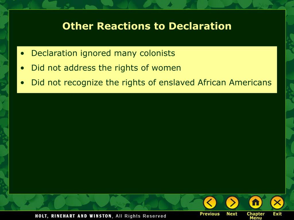 Declaration ignored many colonists