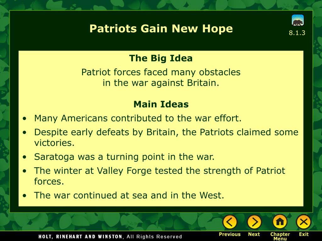 Patriots Gain New Hope