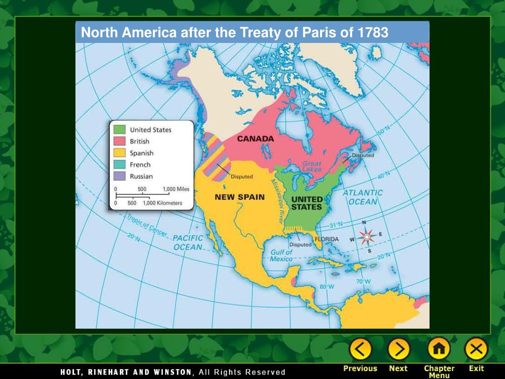 North America after the Treaty of Paris of 1783