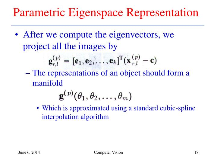 Parametric Eigenspace Representation