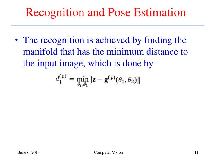 Recognition and Pose Estimation