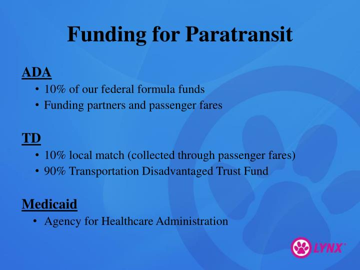 Funding for Paratransit