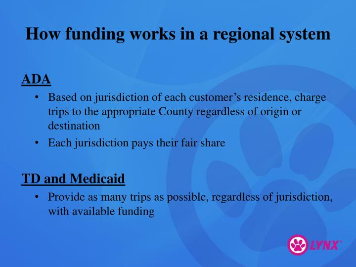 How funding works in a regional system