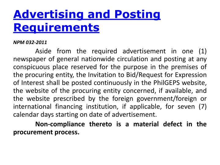 Advertising and Posting
