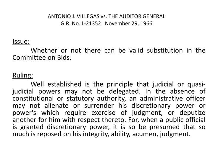 ANTONIO J. VILLEGAS vs. THE AUDITOR GENERAL