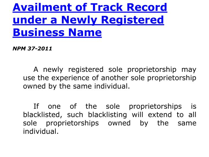 Availment of Track Record