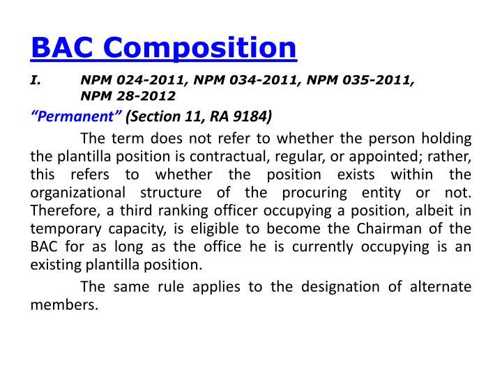 BAC Composition