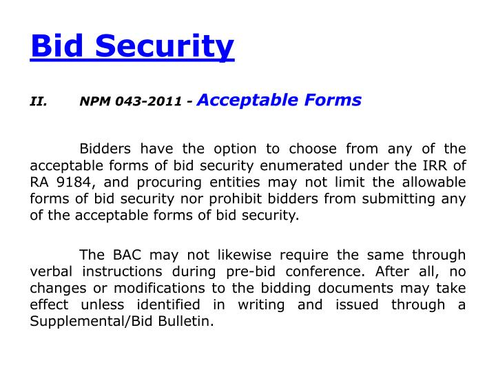 Bid Security
