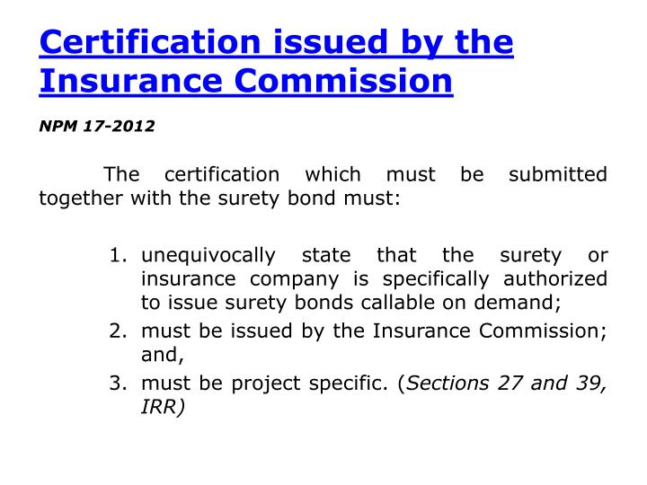 Certification issued by the Insurance Commission