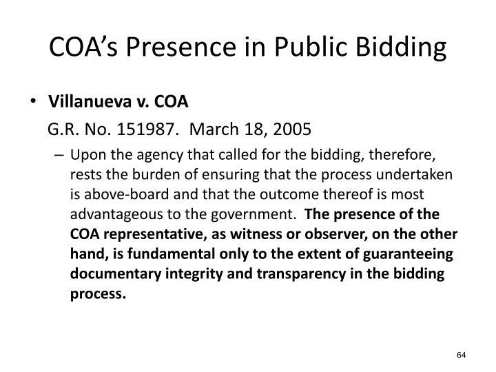 COA's Presence in Public Bidding