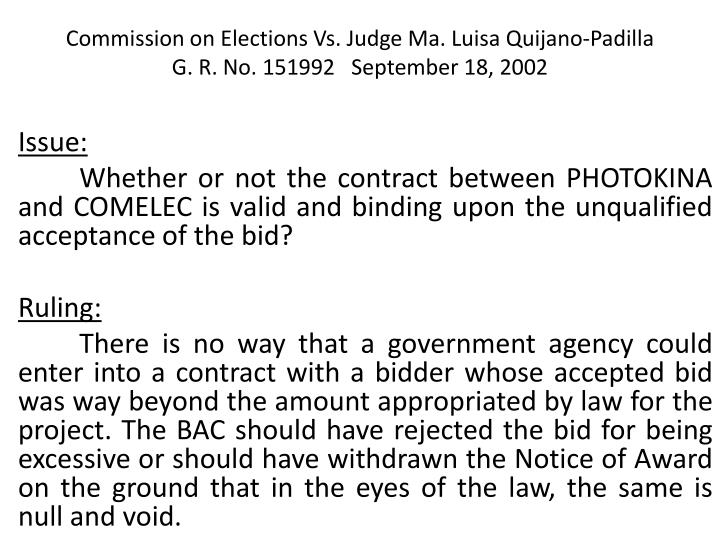 Commission on Elections Vs. Judge Ma. Luisa