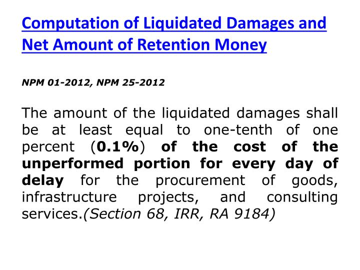 Computation of Liquidated Damages and