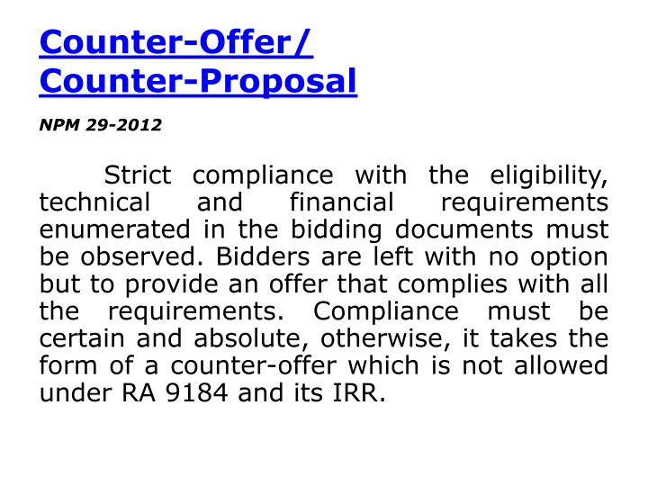 Counter-Offer/