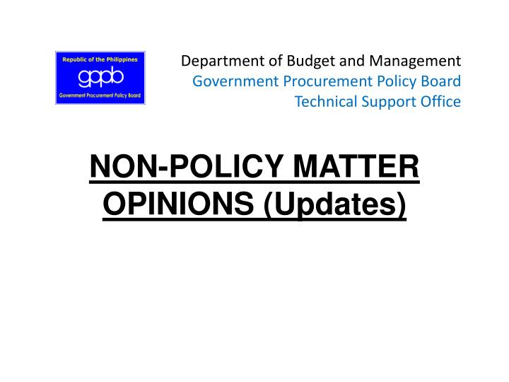 Department of budget and management government procurement policy board technical support office