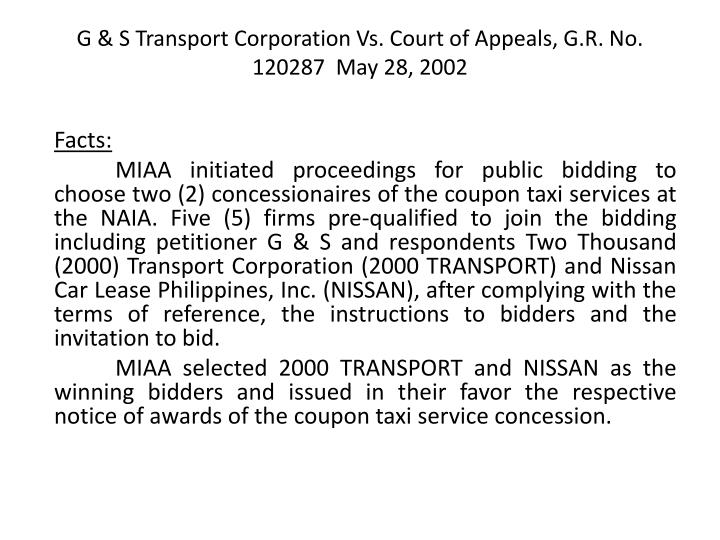 G & S Transport Corporation Vs. Court of Appeals, G.R. No. 120287