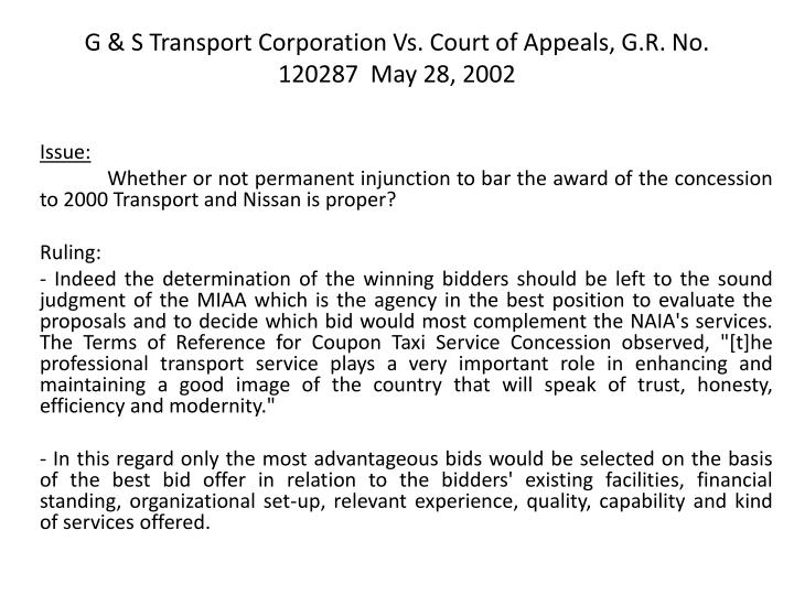 G & S Transport Corporation Vs. Court of Appeals, G.R. No. 120287  May 28, 2002