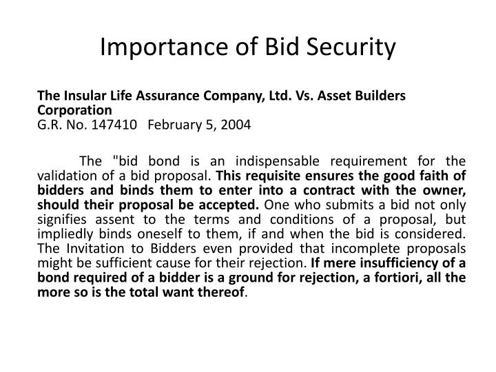 Importance of Bid Security