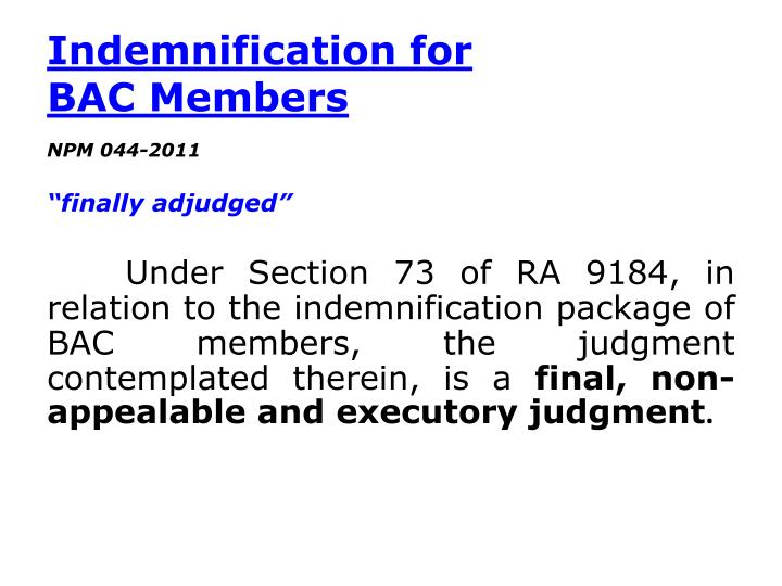 Indemnification for