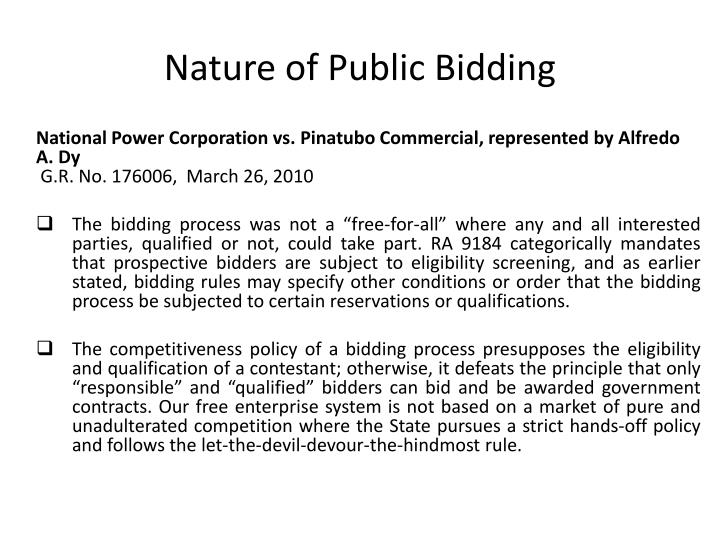 Nature of Public Bidding