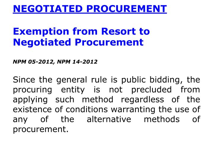 NEGOTIATED PROCUREMENT