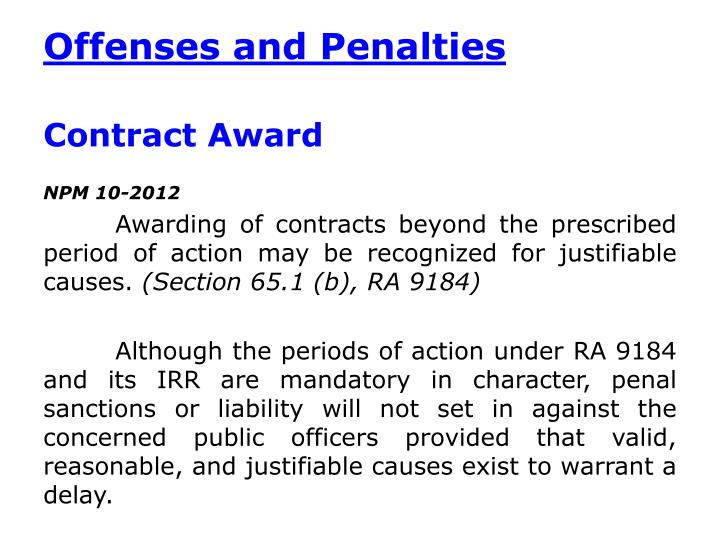 Offenses and Penalties