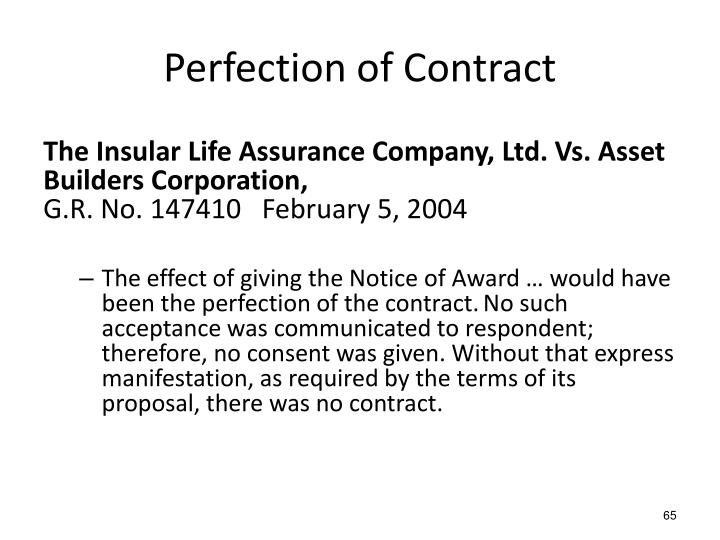Perfection of Contract