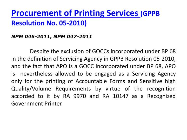 Procurement of Printing Services
