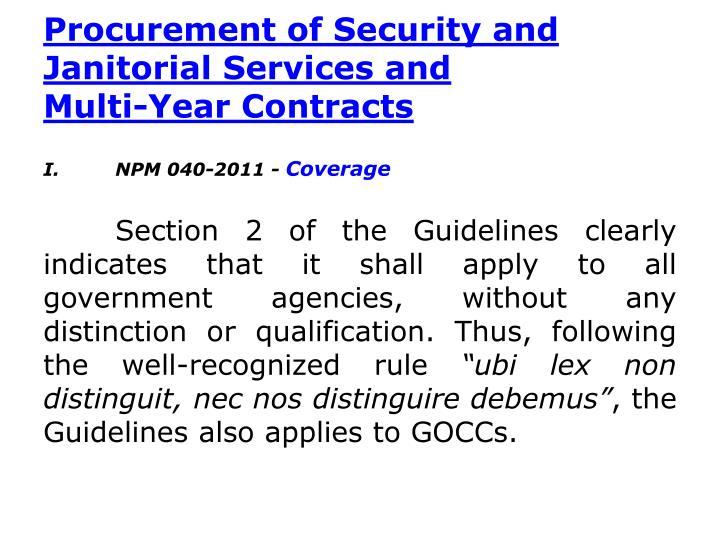 Procurement of Security and Janitorial Services and