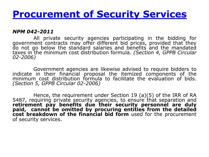Procurement of Security Services