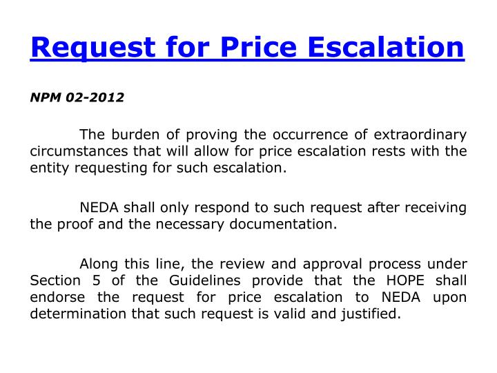 Request for Price Escalation