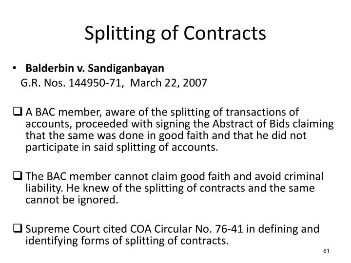 Splitting of Contracts