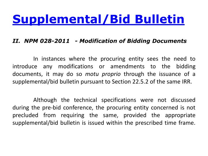 Supplemental/Bid