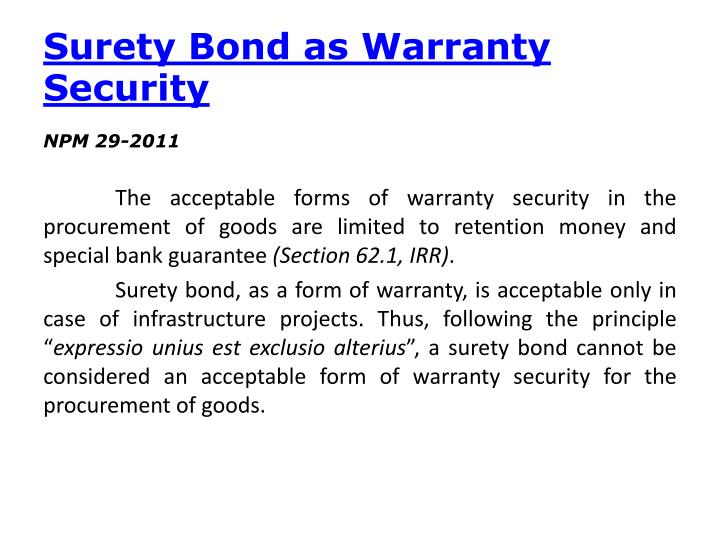 Surety Bond as Warranty Security