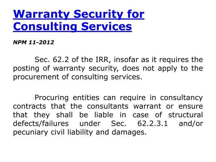 Warranty Security for Consulting Services