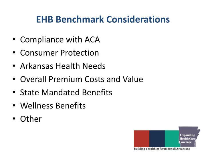 EHB Benchmark Considerations