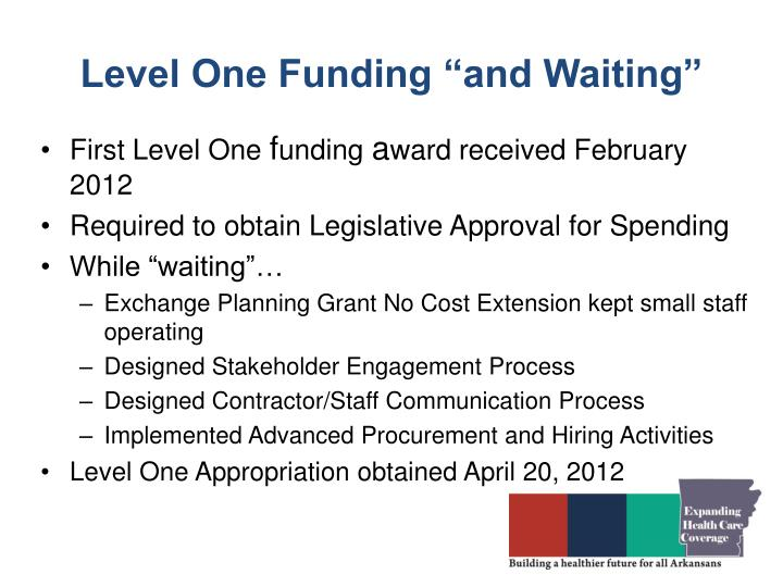 "Level One Funding ""and Waiting"""