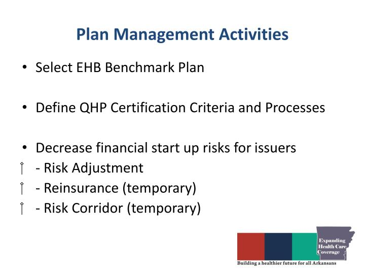 Plan Management Activities