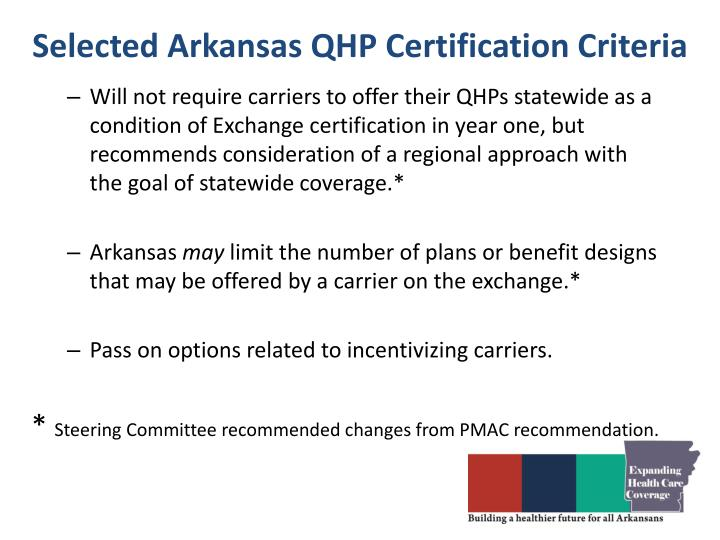 Selected Arkansas QHP Certification Criteria