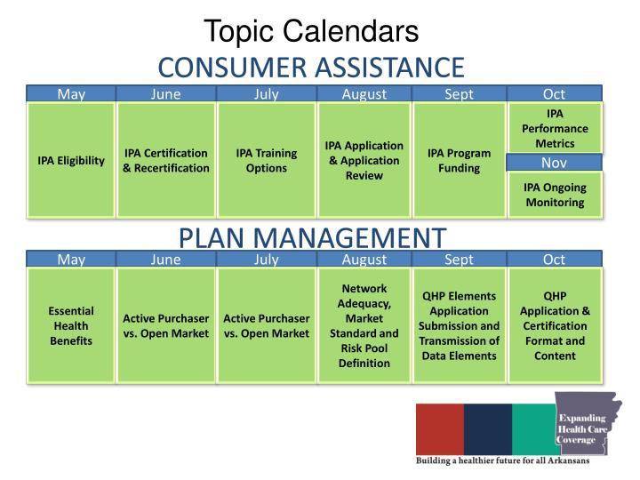 Topic Calendars