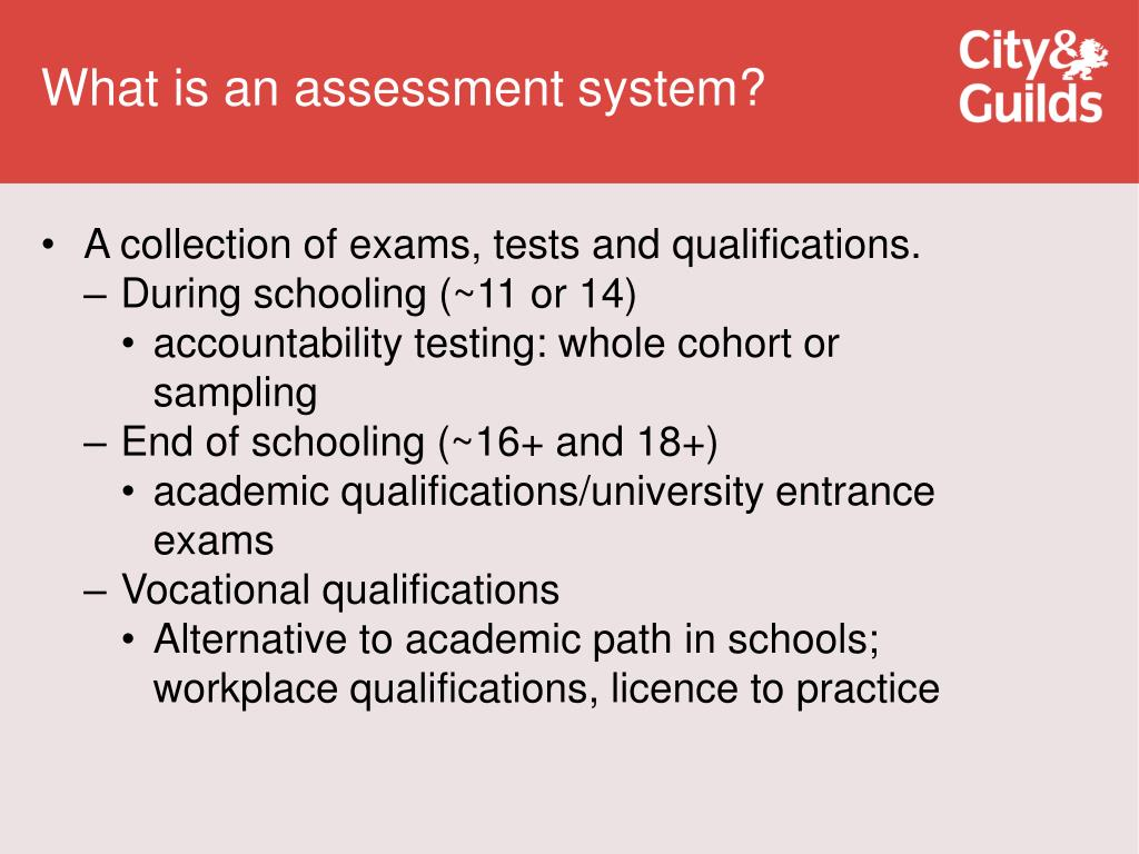 What is an assessment system?