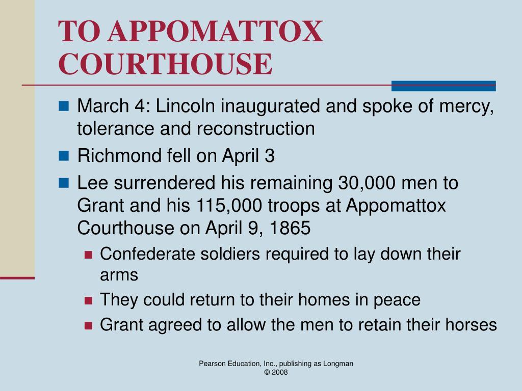 TO APPOMATTOX COURTHOUSE