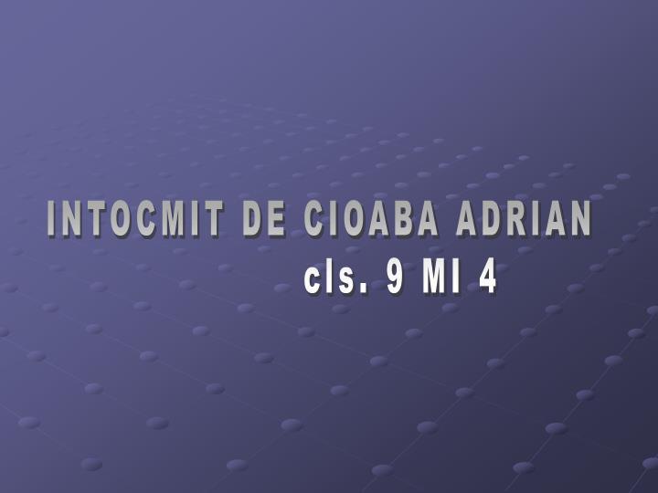 INTOCMIT DE CIOABA ADRIAN