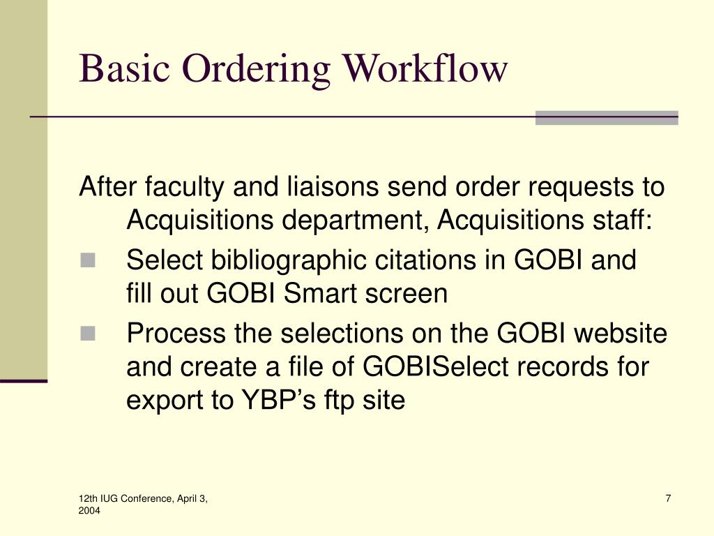 Basic Ordering Workflow