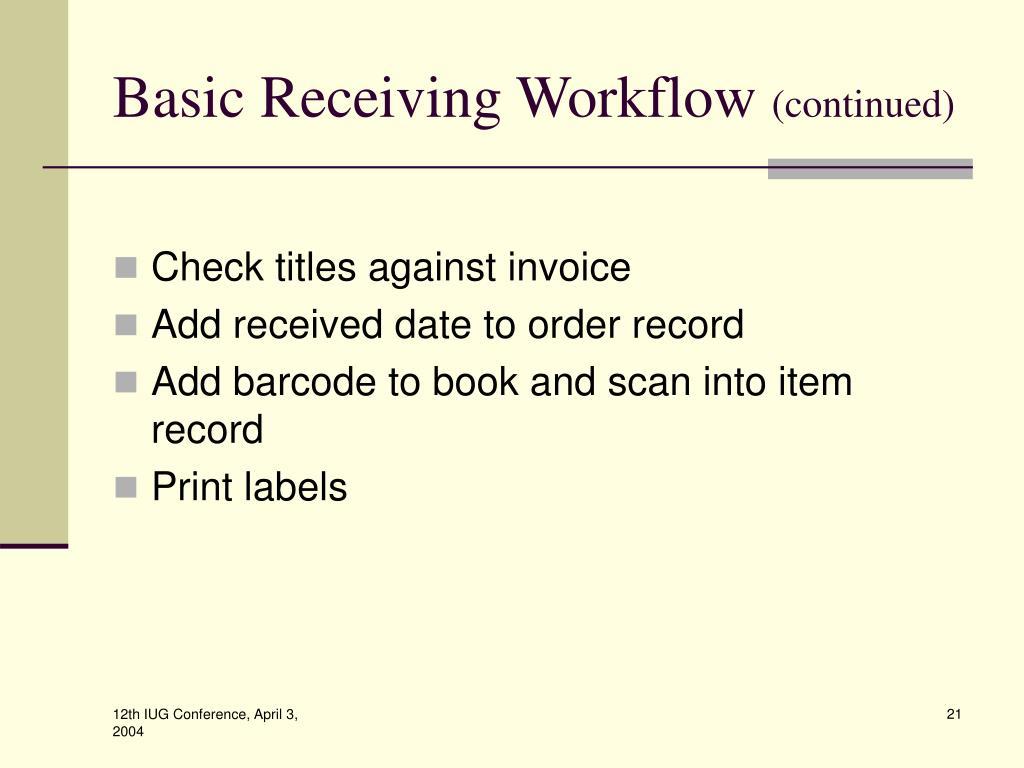 Basic Receiving Workflow